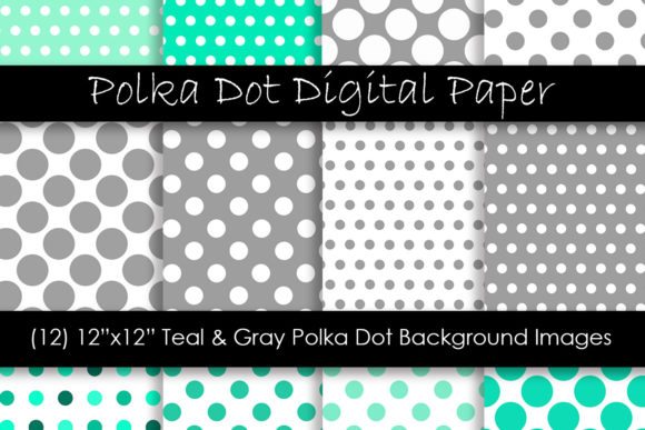 Teal & Gray Polka Dot Patterns Graphic Patterns By GJSArt