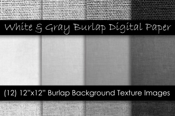 White & Gray Burlap Textures Graphic Textures By GJSArt - Image 1