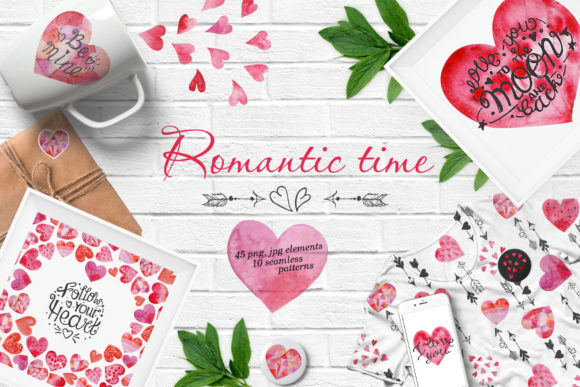 Download Free Watercolor Valentine S Day Set Graphic By Nafanya Creative Fabrica for Cricut Explore, Silhouette and other cutting machines.