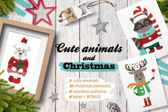 Download Free Cute Animals And Christmas Graphic By Nafanya Creative Fabrica for Cricut Explore, Silhouette and other cutting machines.