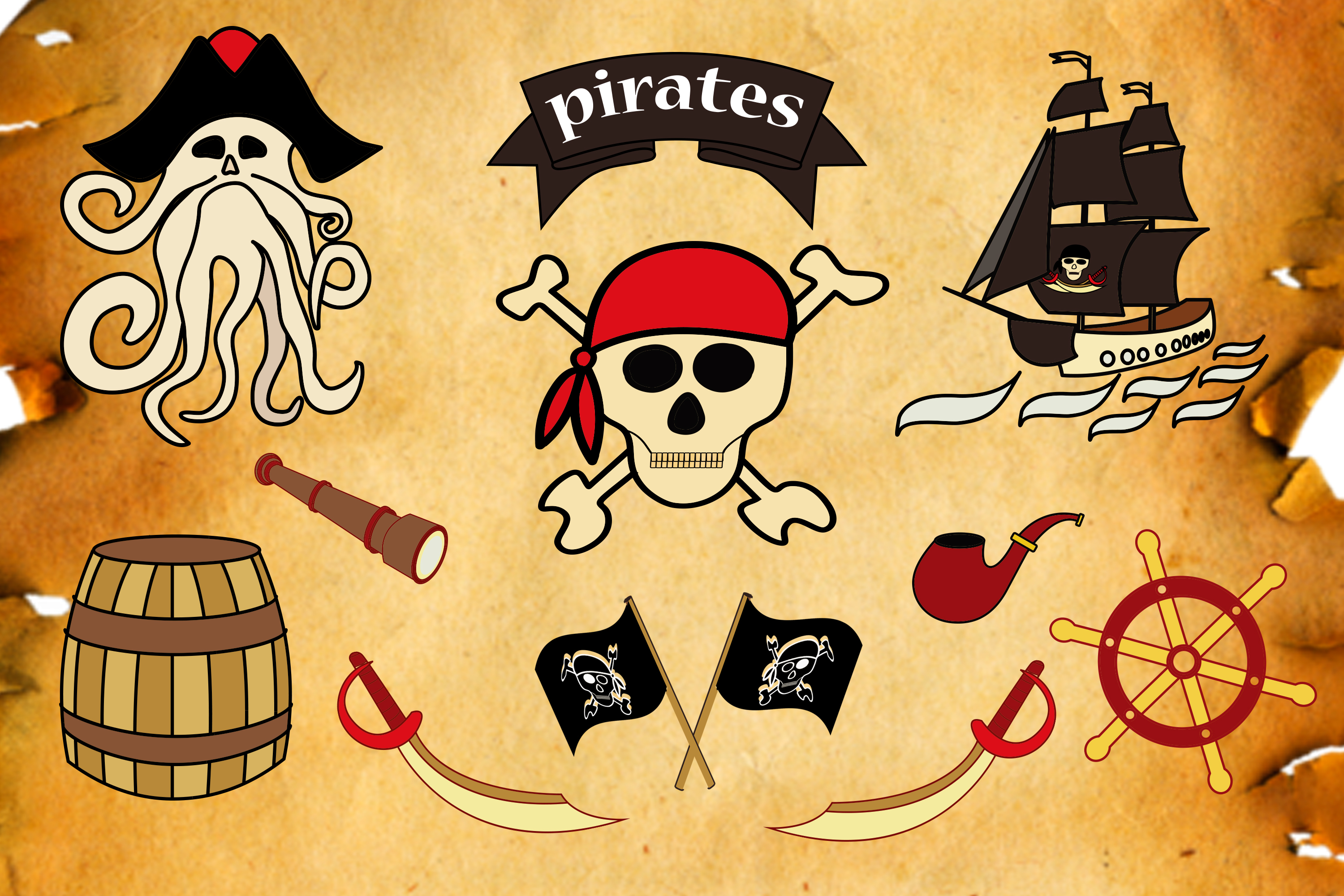 Download Free Pirate Vector Clipart Set Graphic By Natika Art Creative Fabrica for Cricut Explore, Silhouette and other cutting machines.