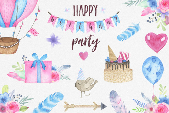 Download Free Watercolor Birthday Party Graphic By Madiwaso Creative Fabrica for Cricut Explore, Silhouette and other cutting machines.