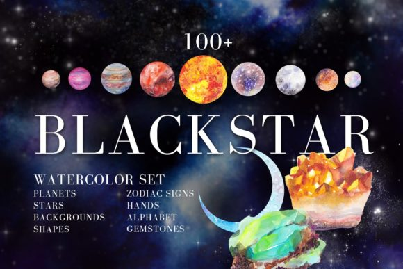 Print on Demand: Watercolor Space, Cosmos Graphic Set Graphic Illustrations By kaleriiatv