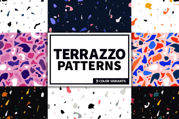 Terrazzo Seamless Patterns Set Gráfico Moldes Por kroljastock