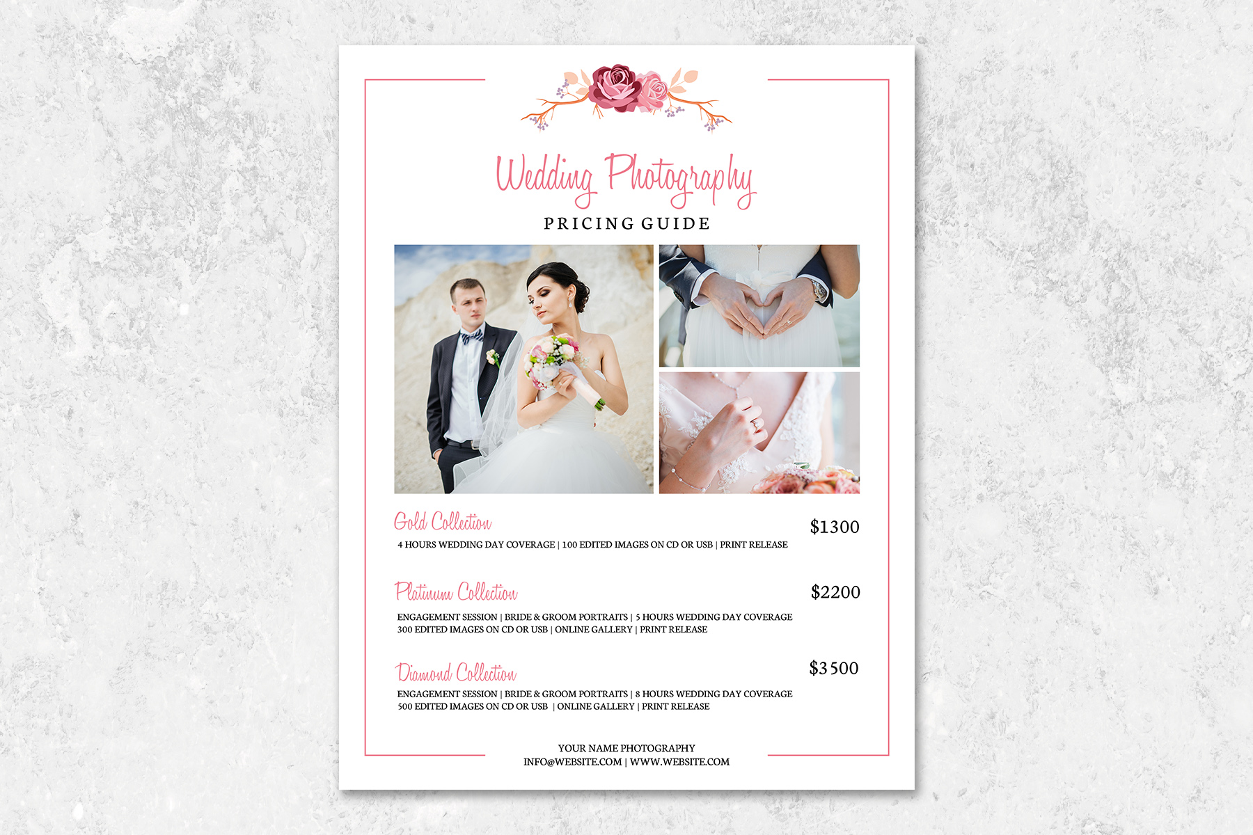 Download Free Wedding Photography Pricing Template Graphic By Designcafeart for Cricut Explore, Silhouette and other cutting machines.