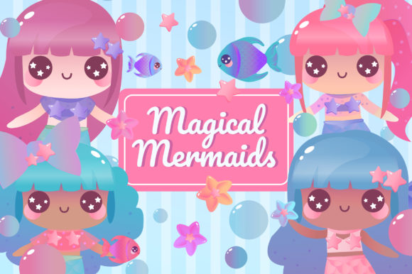Print on Demand: Magical Mermaids Clipart Set Graphic Illustrations By JM_Graphics