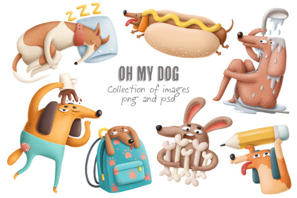 Print on Demand: Cartoon Dog Characters Graphic Illustrations By Architekt_AT