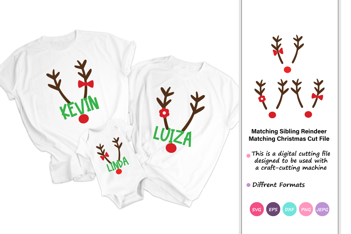 Download Free Matching Sibling Reindeer Creative Fabrica for Cricut Explore, Silhouette and other cutting machines.