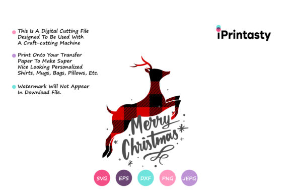 Download Free Reindeer Merry Christmas Graphic By Iprintasty Creative Fabrica for Cricut Explore, Silhouette and other cutting machines.