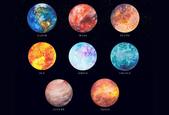Print on Demand: Watercolor Space, Cosmos Graphic Set Graphic Illustrations By kaleriiatv - Image 3