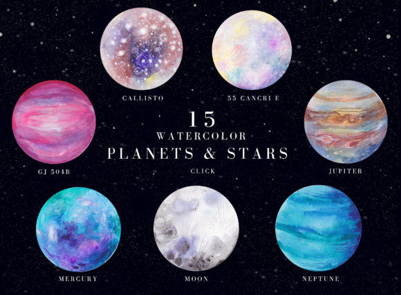 Print on Demand: Watercolor Space, Cosmos Graphic Set Graphic Illustrations By kaleriiatv - Image 2