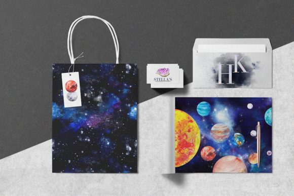 Print on Demand: Watercolor Space, Cosmos Graphic Set Graphic Illustrations By kaleriiatv - Image 13