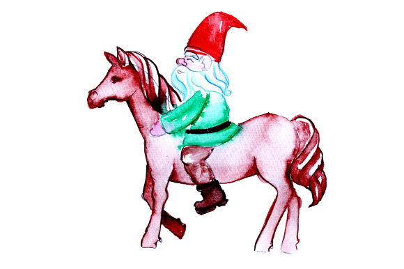 Gnome Riding a Horse in Watercolor Style Designs & Drawings Craft Cut File By Creative Fabrica Crafts