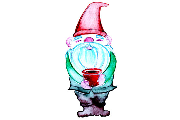 Download Free Gnome Holding A Coffee Cup In Watercolor Style Svg Cut File By for Cricut Explore, Silhouette and other cutting machines.
