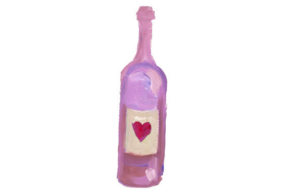 Bottle of Wine with Heart on Label in Gouache Style Valentine's Day Craft Cut File By Creative Fabrica Crafts