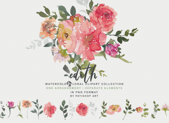 Blush Red Watercolor Peony Clipart Set Graphic Illustrations By Patishop Art