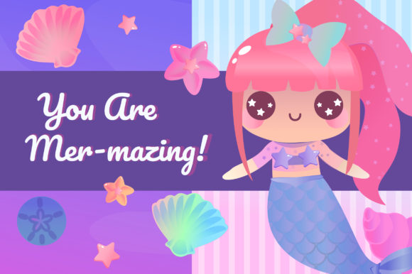 Print on Demand: Magical Mermaids Clipart Set Graphic Illustrations By JM_Graphics - Image 2