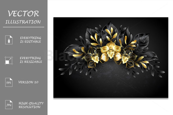 Wreath Black Orchids Graphic Illustrations By Blackmoon9