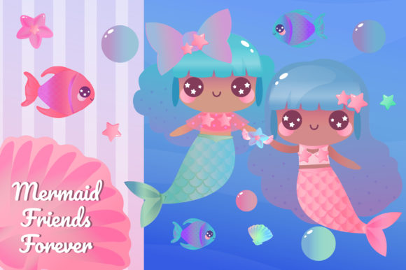 Print on Demand: Magical Mermaids Clipart Set Graphic Illustrations By JM_Graphics - Image 3