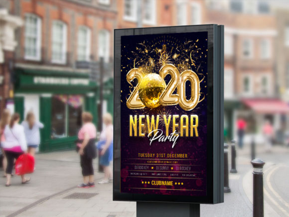 Download Free Happy New Year Flyer Poster Template Grafico Por Skull And Rose for Cricut Explore, Silhouette and other cutting machines.