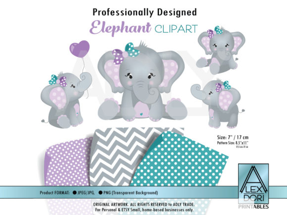 Print on Demand: Lilac/Teal Girl Baby Shower Elephant Gráfico Ilustraciones Por adlydigital