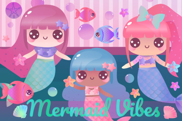 Print on Demand: Magical Mermaids Clipart Set Graphic Illustrations By JM_Graphics - Image 4
