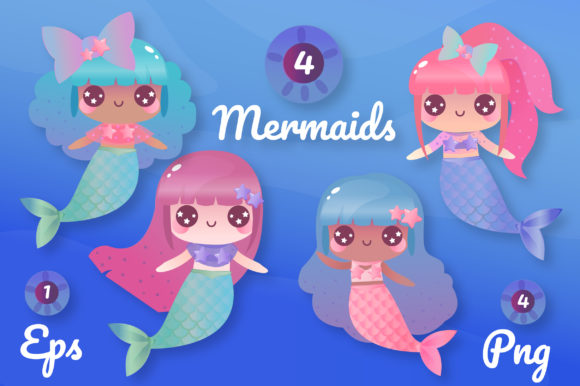 Print on Demand: Magical Mermaids Clipart Set Graphic Illustrations By JM_Graphics - Image 5