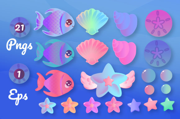 Print on Demand: Magical Mermaids Clipart Set Graphic Illustrations By JM_Graphics - Image 6