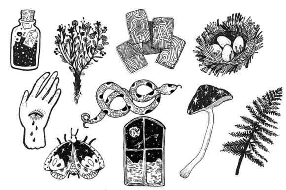 Download Free 10 Magic Esoteric Illustrations Graphic By Kaleriiatv Creative for Cricut Explore, Silhouette and other cutting machines.