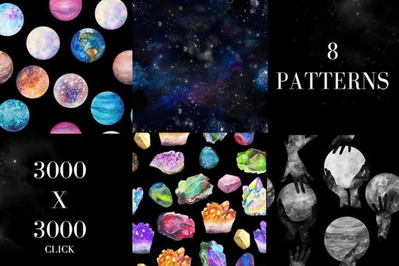 Print on Demand: Watercolor Space, Cosmos Graphic Set Graphic Illustrations By kaleriiatv - Image 11