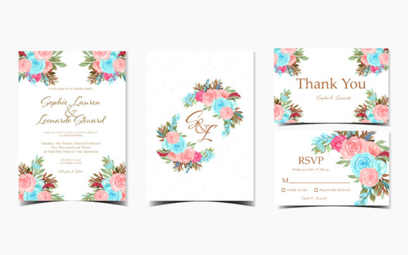 Set of Floral Wedding Invitation Cards Graphic Print Templates By minkumako23
