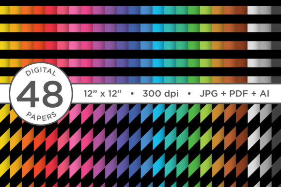 Print on Demand: Black Rainbow Seamless Stripe Patterns Graphic Patterns By Running With Foxes