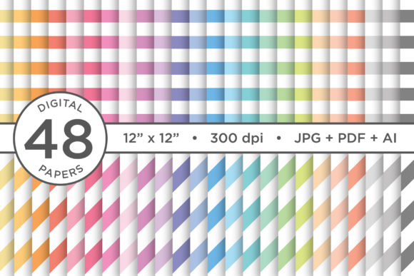 Print on Demand: Rainbow Pastel Seamless Stripes Pattern Graphic Patterns By Running With Foxes
