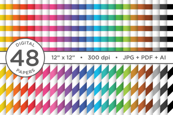 Rainbow Seamless Stripes Patterns Graphic