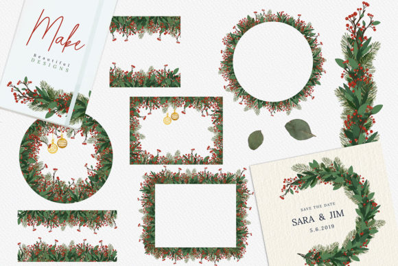 Print on Demand: Christmas Watercolor Floral Frames Graphic Illustrations By 3Motional - Image 3