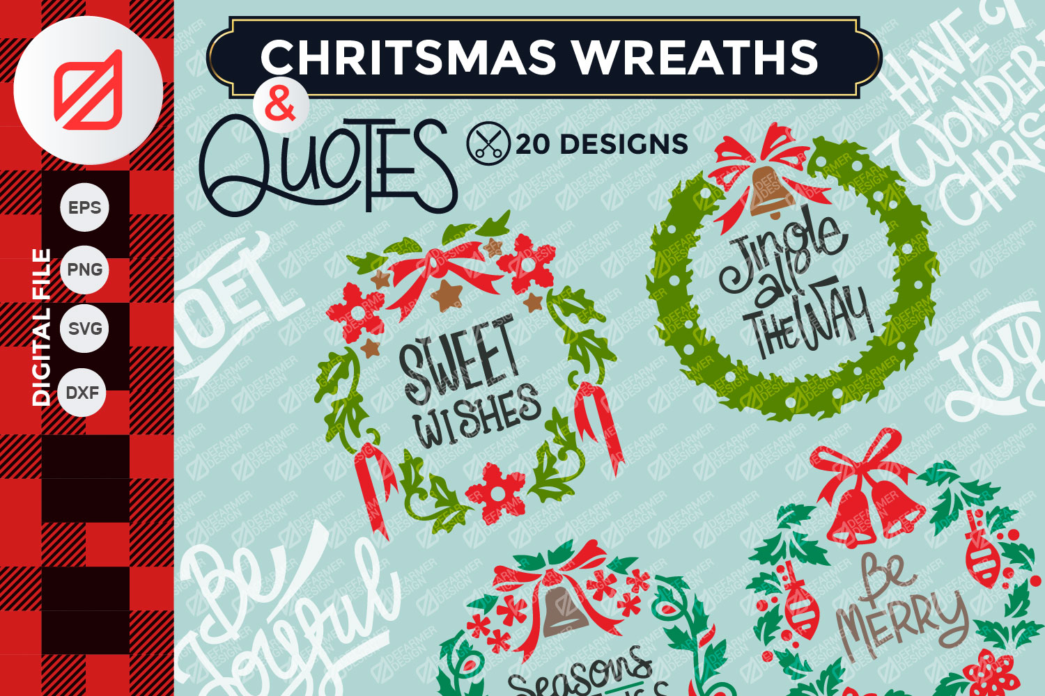 Download Free Christmas Wreaths And Quote Cutting File Graphic By Illusatrian for Cricut Explore, Silhouette and other cutting machines.