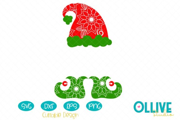 Elf Hat and Shoes Mandala Graphic Crafts By ollivestudio