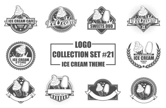 Print on Demand: Logo Collection Set with Ice Cream Theme Grafik Logos von azkaryzki