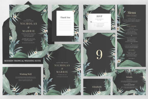 Modern Tropical Wedding Suite Graphic Print Templates By Azka Creative