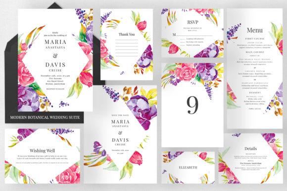 Modern Botanical Wedding Suite Graphic Print Templates By Azka Creative