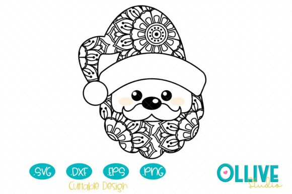 Download Free Santa Claus Mandala Grafico Por Ollivestudio Creative Fabrica for Cricut Explore, Silhouette and other cutting machines.