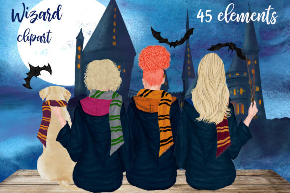 Wizard Girls Clipart, Castel Landscape Graphic Illustrations By LeCoqDesign - Image 1