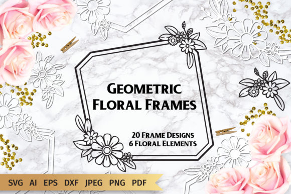Download Free Geometric Floral Frames Graphic By Elinorka Creative Fabrica for Cricut Explore, Silhouette and other cutting machines.