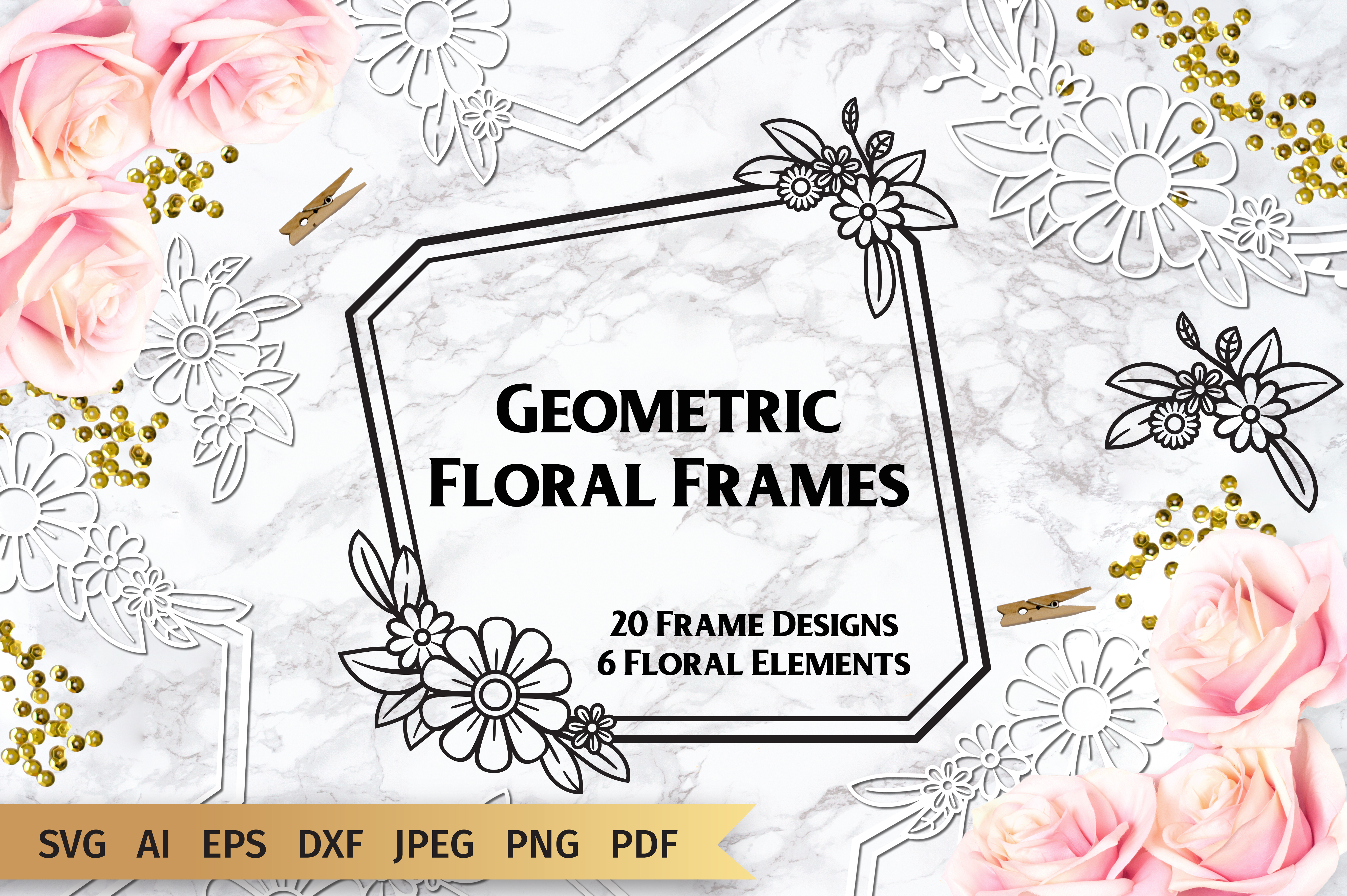 Geometric Floral Frames Graphic By Elinorka Creative Fabrica