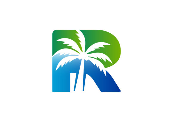 Download Free R Letter Palm Tree Vector Logo Template Graphic By Laks Mi for Cricut Explore, Silhouette and other cutting machines.