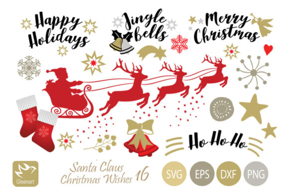 Download Free Santa Claus And Christmas Wishes Graphic By Gleenart Graphic Design Creative Fabrica for Cricut Explore, Silhouette and other cutting machines.