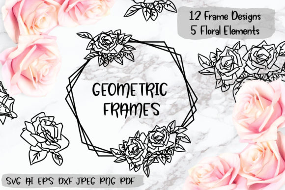 Rose Geometric Frame Graphic Illustrations By elinorka