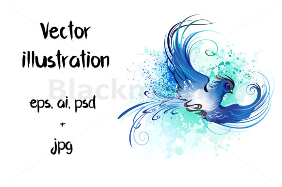 Watercolor Blue Bird Graphic Illustrations By Blackmoon9