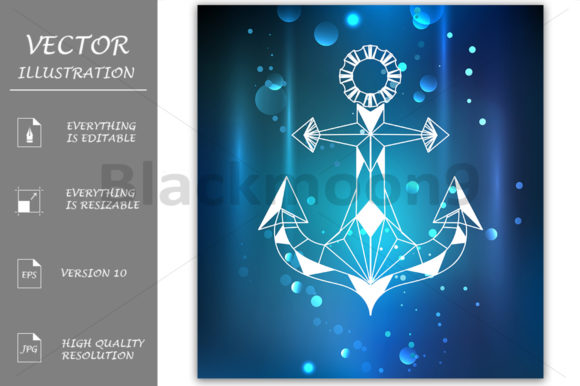 White Anchor Polygon Graphic Illustrations By Blackmoon9