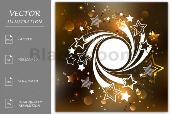 White Banner with Stars Graphic Illustrations By Blackmoon9